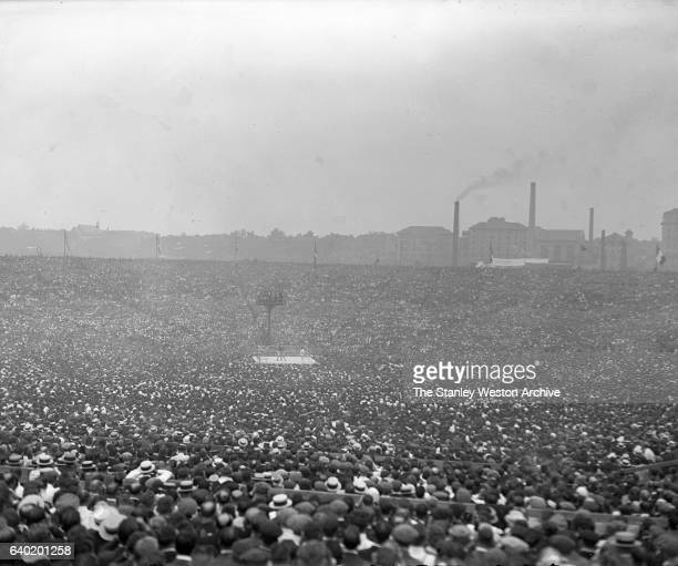 Jack Dempsey vs Georges Carpentier Heavyweight title fight long range shot of the ring at Boyle's Thrity Acres Jersey City New Jersey July 2 1921