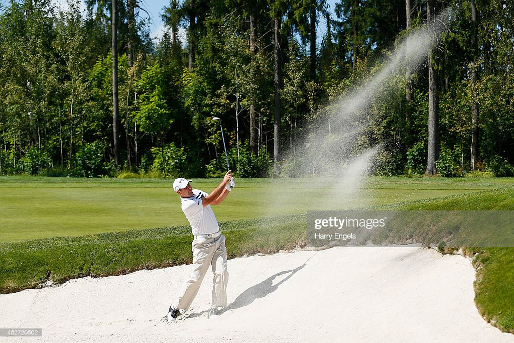 Jack Doherty of Scotland plays out of a bunker at the fourth on day three of the M2M Russian Open at Tseleevo Golf & Polo Club on July 26, 2014 in Moscow, Russia.