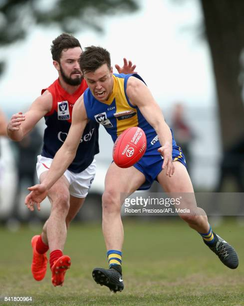 Jack Dorgan of Williamstown gathers the ball during the VFL Qualifying Final match between Williamstown and Casey at Burbank Oval on September 2 2017...
