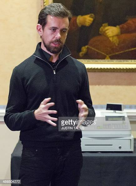 Jack Dorsey CEO of Square Chairman of Twitter and a founder of both speaks to journalists at a press conference in London on November 20 where he...