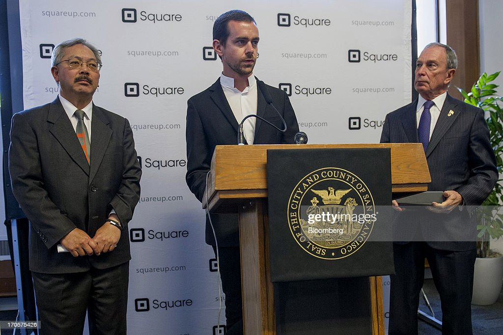 Jack Dorsey, chairman and co-founder of Twitter Inc., center, speaks as New York City Mayor Michael 'Mike' Bloomberg, right, and San Francisco Mayor Edward 'Ed' Lee listen during a press conference in San Francisco, California, U.S., on Friday, June 14, 2013. Dorsey, Mayor Bloomberg and Mayor Lee announced today that they will co-host the second annual Bloomberg Technology Summit to be held in New York on September 30. Photographer: David Paul Morris/Bloomberg via Getty Images