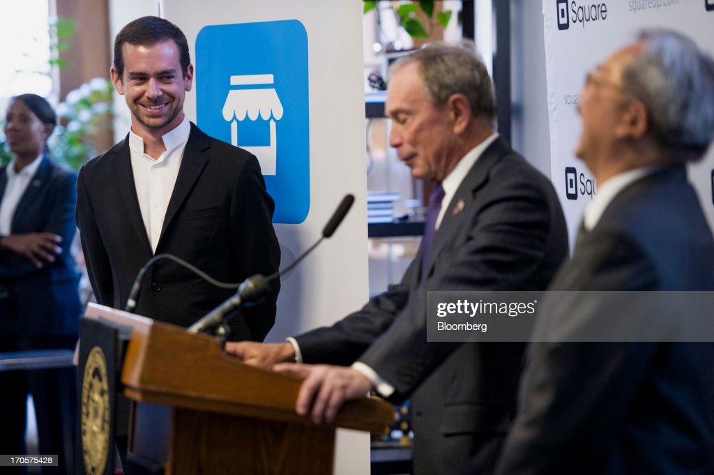 <a gi-track='captionPersonalityLinkClicked' href=/galleries/search?phrase=Jack+Dorsey&family=editorial&specificpeople=5818892 ng-click='$event.stopPropagation()'>Jack Dorsey</a>, chairman and co-founder of Twitter Inc., left, and and San Francisco Mayor Edward 'Ed' Lee, right, laugh as New York City Mayor Michael 'Mike' Bloomberg speaks during a press conference in San Francisco, California, U.S., on Friday, June 14, 2013. Dorsey, Mayor Bloomberg and Mayor Lee announced today that they will co-host the second annual Bloomberg Technology Summit to be held in New York on September 30. Photographer: David Paul Morris/Bloomberg via Getty Images