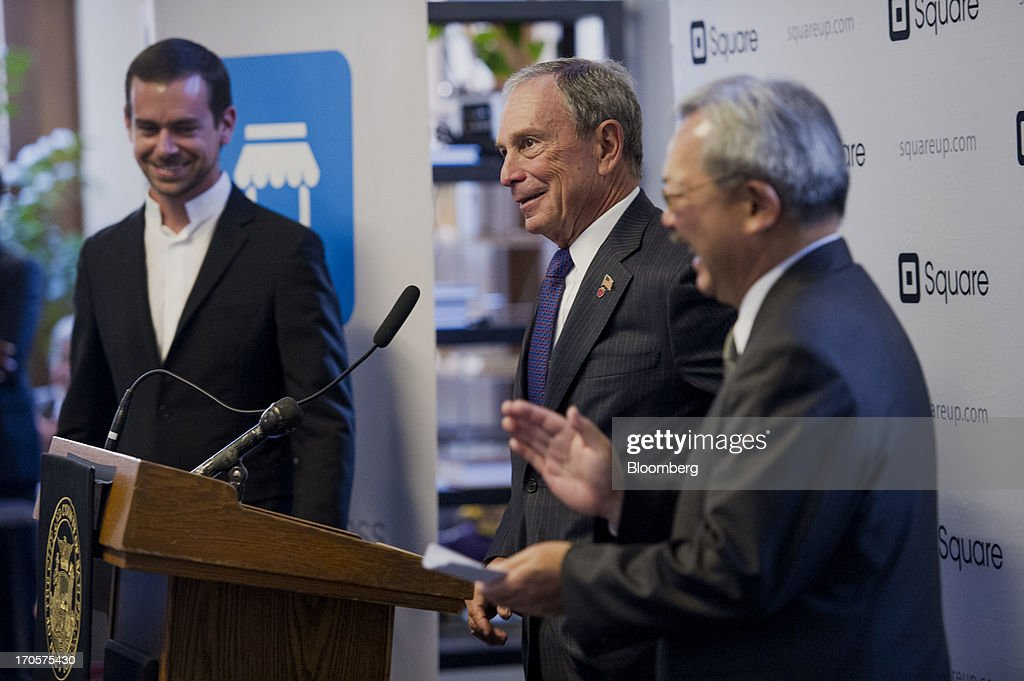 Jack Dorsey, chairman and co-founder of Twitter Inc., left, and and San Francisco Mayor Edward 'Ed' Lee, right, laugh as New York City Mayor Michael 'Mike' Bloomberg speaks during a press conference in San Francisco, California, U.S., on Friday, June 14, 2013. Dorsey, Mayor Bloomberg and Mayor Lee announced today that they will co-host the second annual Bloomberg Technology Summit to be held in New York on September 30. Photographer: David Paul Morris/Bloomberg via Getty Images