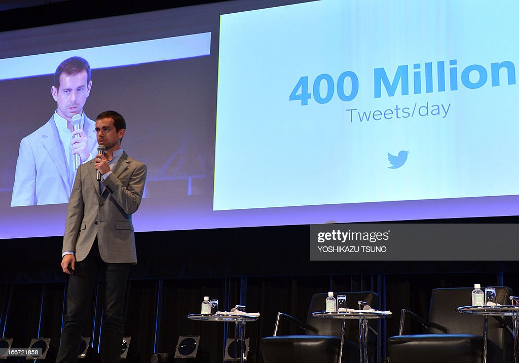 Jack Dorsey, Chairman of Twitter and CEO of Square speaks at a conference of the New Economy Summit 2013 in Tokyo on April 16, 2013. Entrepreneurs of information technology (IT) and online business on April 16 gathered at a one-day conference, hosted by Japan Association of New Economy (JANE), led by Japanese electronic commerce giant Rakuten's Hiroshi Mikitani. AFP PHOTO / Yoshikazu TSUNO