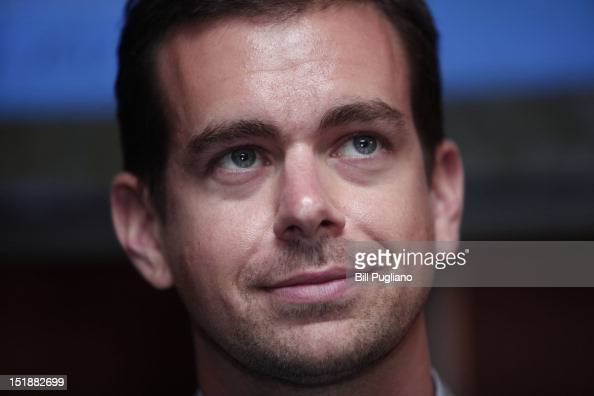 Jack Dorsey Chairman of Twitter and CEO of Square speaks with the media after speaking at TECHONOMYDETROIT September 12 2012 in Detroit Michigan The...
