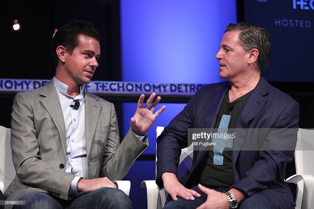 <a gi-track='captionPersonalityLinkClicked' href=/galleries/search?phrase=Jack+Dorsey&family=editorial&specificpeople=5818892 ng-click='$event.stopPropagation()'>Jack Dorsey</a> (L), Chairman of Twitter and CEO of Square, talks with Dan Gilbert, Chairman of Rock Ventures and Quicken Loans at TECHONOMYDETROIT September 12, 2012 in Detroit, Michigan. The event, hosted by the Detroit Economic Club is a one-day multidisciplinary gathering of national and local leaders about reigniting U.S. competitiveness, creating jobs, and revitalizing our cities in a technologized age.