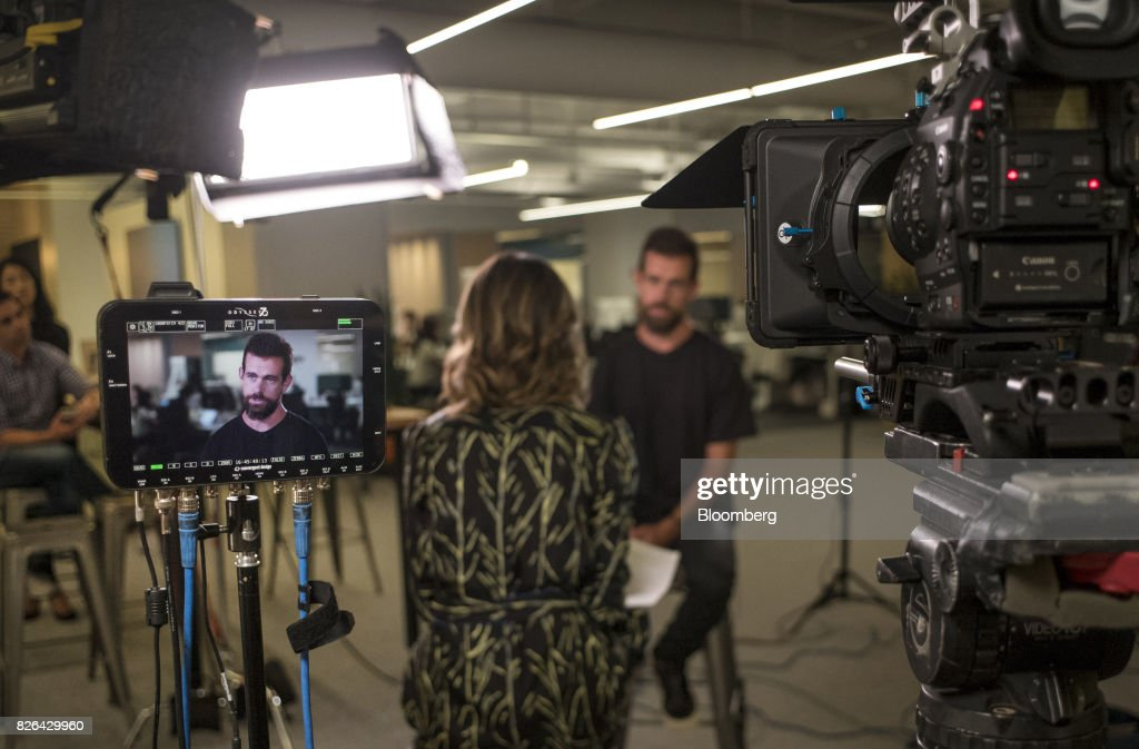 Jack Dorsey, chief executive officer and co-founder of Square Inc., is seen on a video monitor during a Bloomberg Television interview in San Francisco, California, U.S., on Wednesday, Aug. 2, 2017. Square Inc.s quarterly results topped analysts projections, helped by larger merchants joining its platform and increasing sales of its business software and services. Photographer: David Paul Morris/Bloomberg via Getty Images