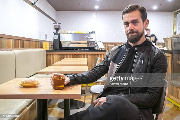 Jack Dorsey cofounder and CEO of Square and Twitter is interviewed at Five Dime Bagel on April 11 2016 in Melbourne Australia Dorsey is visiting...