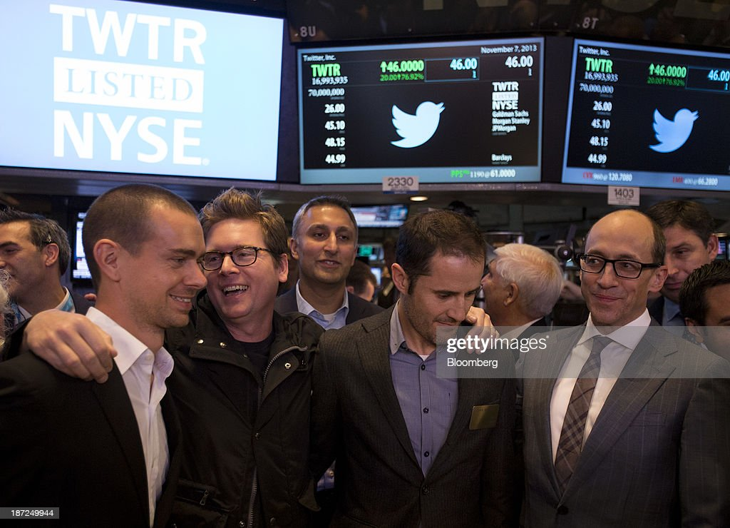 Jack Dorsey cofounder of Twitter Inc and founder and chief executive officer of Square from left Christopher Isaac 'Biz' Stone cofounder of Twitter...