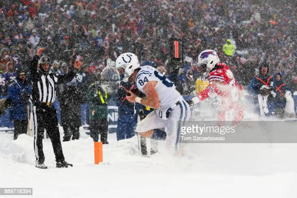 Jack Doyle of the Indianapolis Colts scores a touchdown during the fourth quarter against the Buffalo Bills on December 10 2017 at New Era Field in...