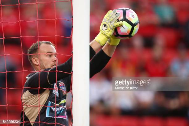 Jack Duncan of the Jets makes a save during the round 20 ALeague match between Adelaide United and the Newcastle Jets at Coopers Stadium on February...