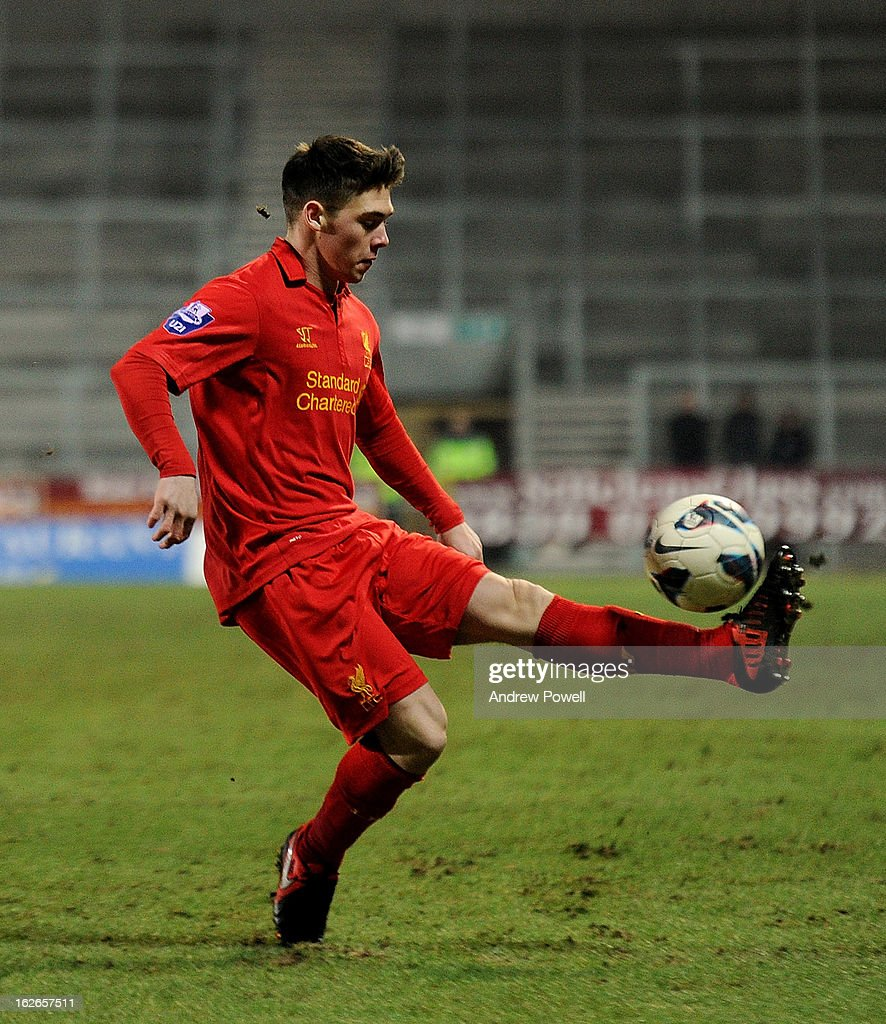 Jack Dunn of Liverpool during the Barclays Premier Reserve League match between Liverpool Reserves and Manchester United at Langtree Park on February 25, 2013 in St Helens, England.