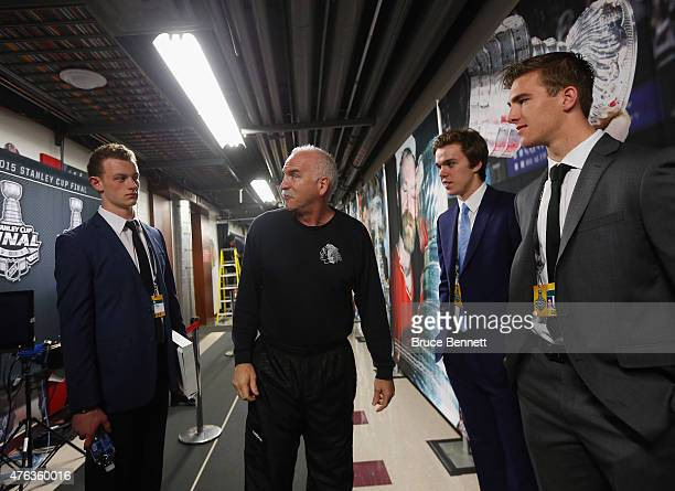 Jack Eichel Chicago Blackhawk coach Joel Quennville Connor McDavid and Noah Hanafin chat following a media availability at United Center on June 8...