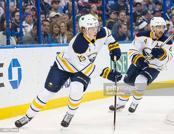 Jack Eichel of Buffalo Sabres skates against the Tampa Bay Lightning during the first period at the Amalie Arena on October 17 2015 in Tampa Florida
