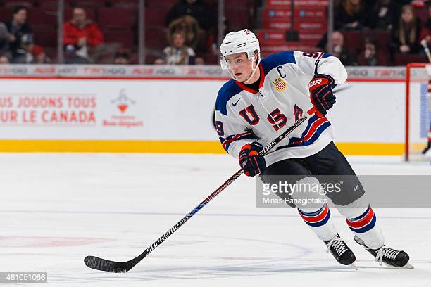 Jack Eichel of Team United States carries the puck during the 2015 IIHF World Junior Hockey Championship game against Team Slovakia at the Bell...