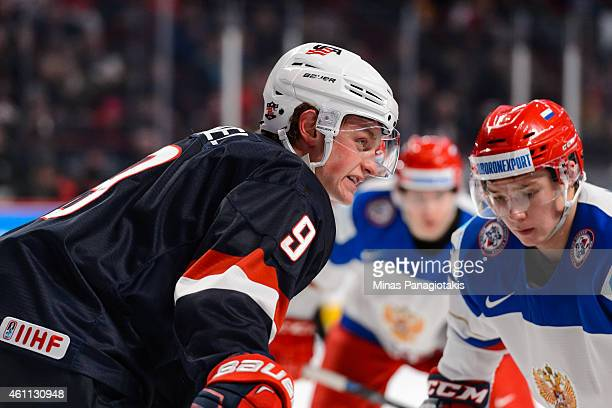 Jack Eichel of Team United States prepares for a faceoff in a quarterfinal round during the 2015 IIHF World Junior Hockey Championships against Team...