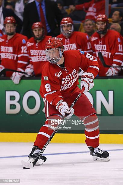 Jack Eichel of the Boston Terriers skates against North Dakota during the second period of the 2015 NCAA Division I Men's Hockey Championship...