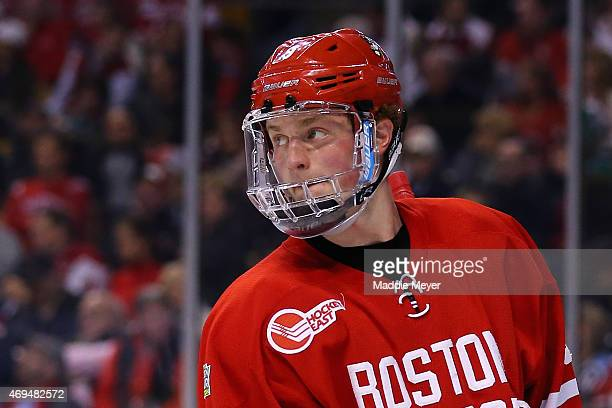 Jack Eichel of the Boston University Terriers looks on during the third period of the 2015 NCAA Division I Men's Hockey Championship semifinals at TD...