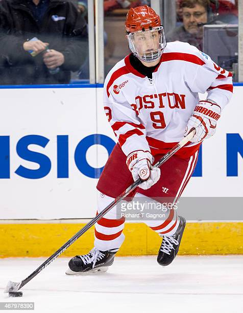 Jack Eichel of the Boston University Terriers skates against the Minnesota Duluth Bulldogs during the NCAA Division I Men's Ice Hockey Northeast...