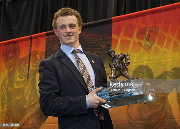 Jack Eichel of the Boston University Terriers wins the Hobey Baker Memorial Award given annually to best player in NCAA Division I Men's ice hockey...