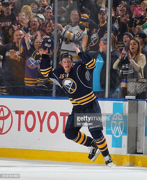 Jack Eichel of the Buffalo Sabres celebrates as game's first star after scoring the gamewinning goal with one second remaining in overtime against...