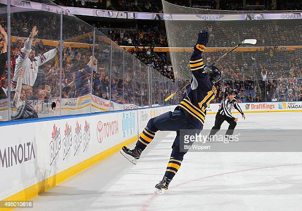 Jack Eichel of the Buffalo Sabres celebrates his first period goal against the Philadelphia Flyers during an NHL game on October 30 2015 at the First...
