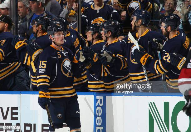 Jack Eichel of the Buffalo Sabres celebrates his goal against the Arizona Coyotes during an NHL game at the KeyBank Center on March 2 2017 in Buffalo...