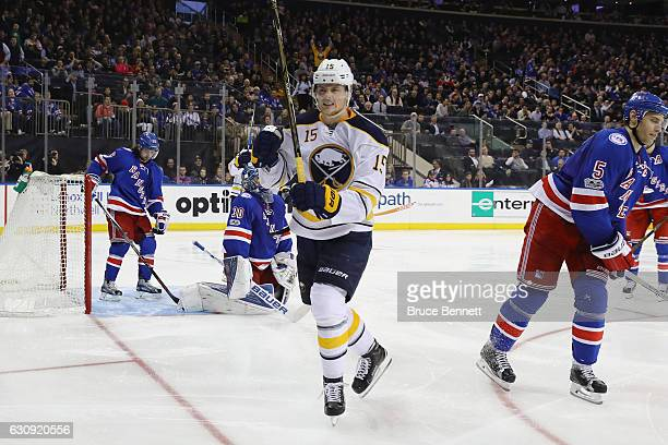 Jack Eichel of the Buffalo Sabres celebrates his goal at 110 of the third period on the powerplay against Henrik Lundqvist of the New York Rangers at...