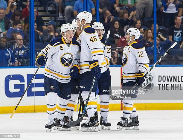Jack Eichel of the Buffalo Sabres celebrates his goal with teammates against the Tampa Bay Lightning during first period at the Amalie Arena on...