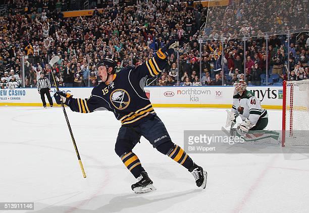 Jack Eichel of the Buffalo Sabres celebrates his shootout goal against Devan Dubnyk of the Minnesota Wild during an NHL game on March 5 2016 at the...