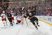 Jack Eichel of the Buffalo Sabres celebrates his third period goal against Sergei Bobrovsky of the Columbus Blue Jackets on October 12 2015 at the...