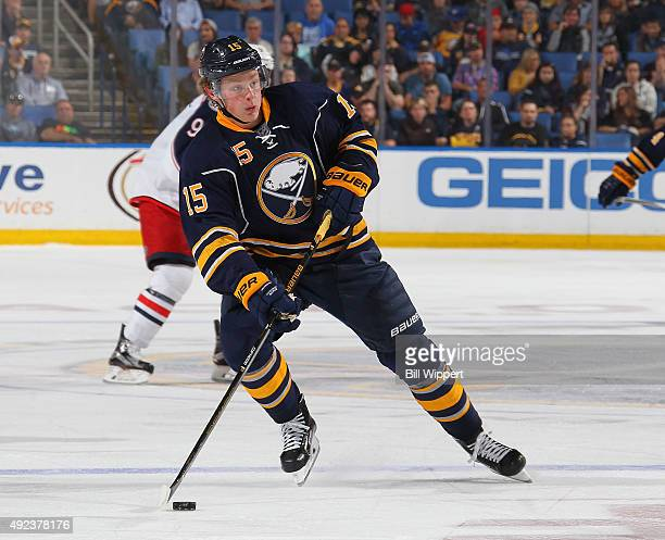 Jack Eichel of the Buffalo Sabres controls the puck against the Columbus Blue Jackets on October 12 2015 at the First Niagara Center in Buffalo New...