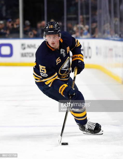 Jack Eichel of the Buffalo Sabres during the game against the Vancouver Canucks at the KeyBank Center on October 20 2017 in Buffalo New York
