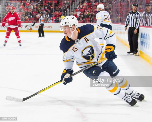 Jack Eichel of the Buffalo Sabres follows the play against the Detroit Red Wings during an NHL game at Little Caesars Arena on November 17 2017 in...