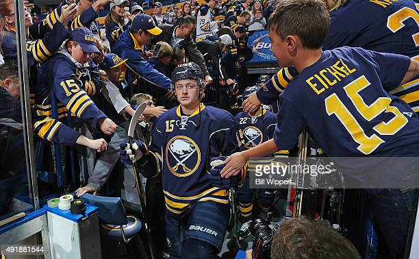 Jack Eichel of the Buffalo Sabres is greeted by fans before playing his first NHL game against the Ottawa Senators on October 8 2015 at the First...