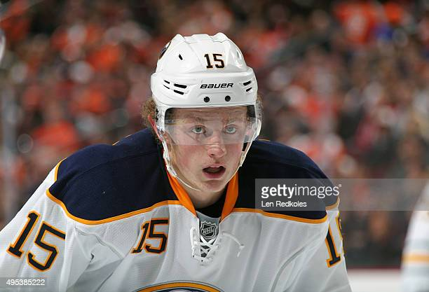 Jack Eichel of the Buffalo Sabres looks on prior to a faceoff against the Philadelphia Flyers on October 27 2015 at the Wells Fargo Center in...