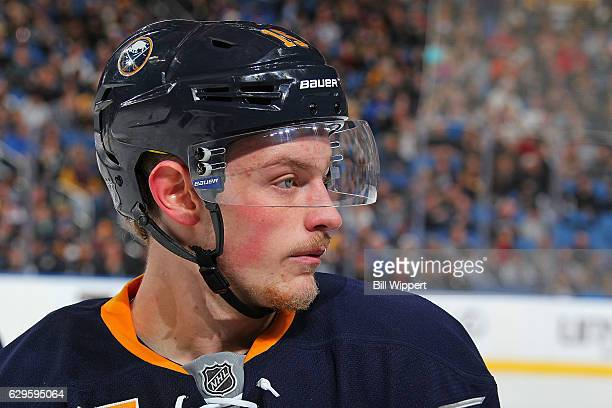 Jack Eichel of the Buffalo Sabres prepares for action during an NHL game against the Los Angeles Kings at the KeyBank Center on December 13 2016 in...