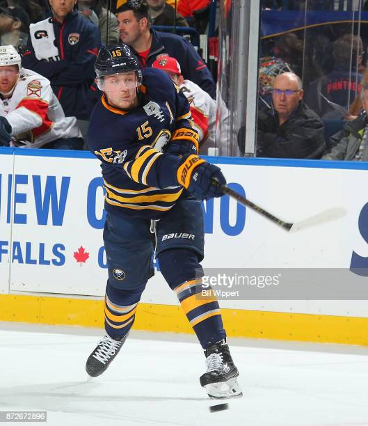 Jack Eichel of the Buffalo Sabres shoots the puck during first period action against the Florida Panthers during an NHL game on November 10 2017 at...