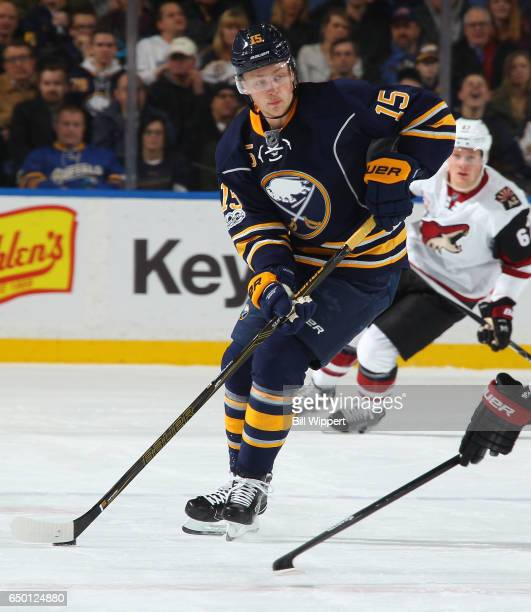 Jack Eichel of the Buffalo Sabres skates against the Arizona Coyotes during an NHL game at the KeyBank Center on March 2 2017 in Buffalo New York