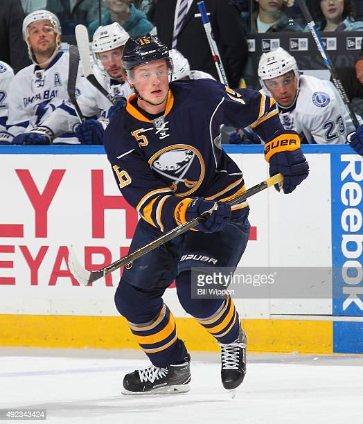 Jack Eichel of the Buffalo Sabres skates against the Tampa Bay Lightning on October 10 2015 at the First Niagara Center in Buffalo New York