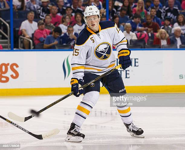 Jack Eichel of the Buffalo Sabres skates against the Tampa Bay Lightning during the second period at the Amalie Arena on October 17 2015 in Tampa...