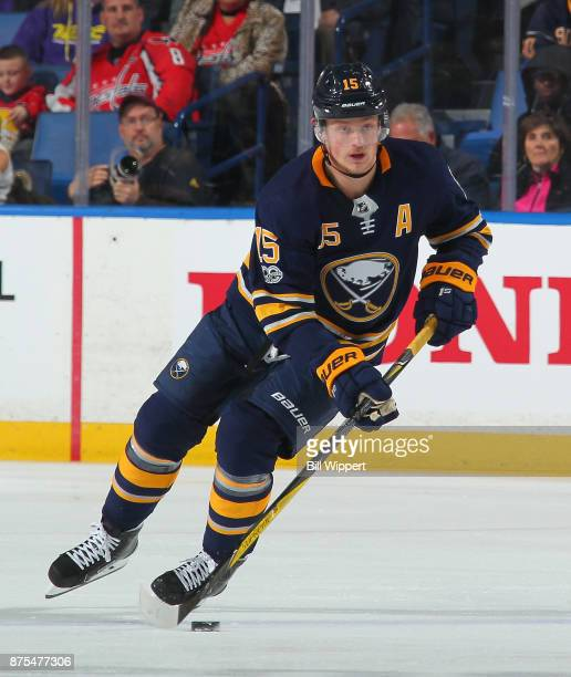 Jack Eichel of the Buffalo Sabres skates against the Washington Capitals during an NHL game on November 7 2017 at KeyBank Center in Buffalo New York