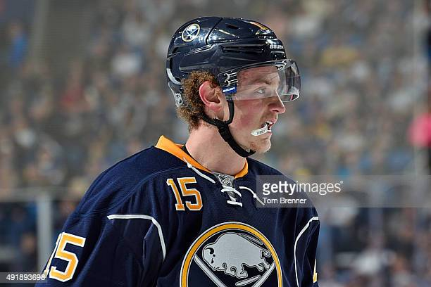 Jack Eichel of the Buffalo Sabres skates around in between whistles during a game against the Ottawa Senators at the First Niagara Center on October...
