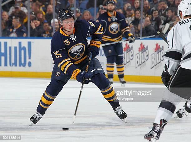 Jack Eichel of the Buffalo Sabres skates with the puck againast the Los Angeles Kings during an NHL game on December 12 2015 at the First Niagara...