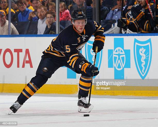 Jack Eichel of the Buffalo Sabres skates with the puck against the Columbus Blue Jackets on October 12 2015 at the First Niagara Center in Buffalo...