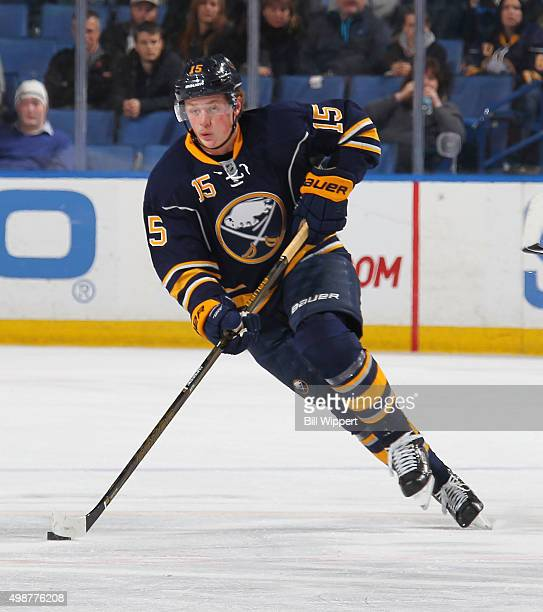 Jack Eichel of the Buffalo Sabres skates with the puck against the Nashville Predators during an NHL game on November 25 2015 at the First Niagara...
