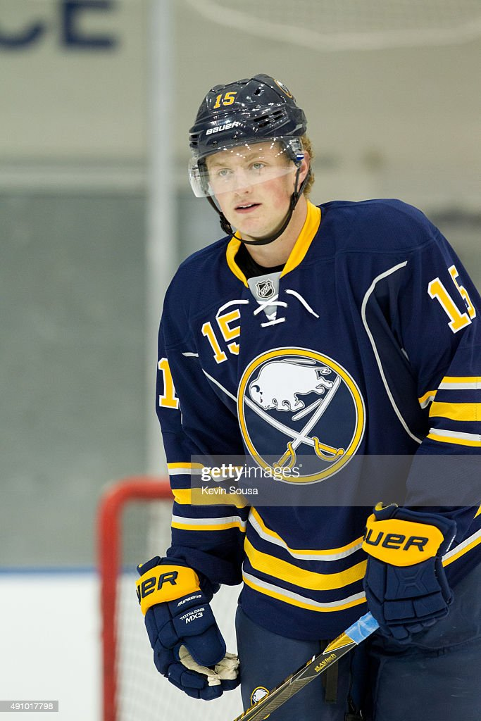 Jack Eichel #15 of the Buffalo Sabres skates with the puck during a photo shoot at the 2015 NHLPA Rookie Showcase at Mattamy Athletic Centre on September 1, 2015 in Toronto, Ontario, Canada .