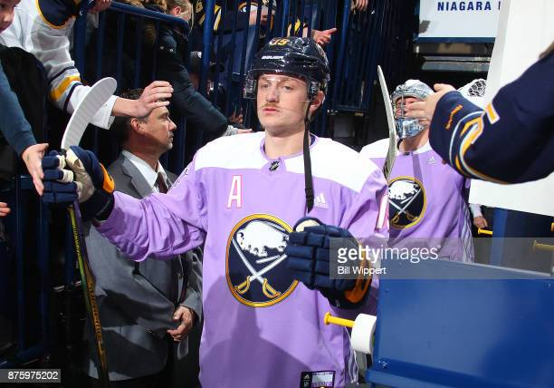 Jack Eichel of the Buffalo Sabres takes the ice on Hockey Fights Cancer Night before an NHL game against the Carolina Hurricanes on November 18 2017...