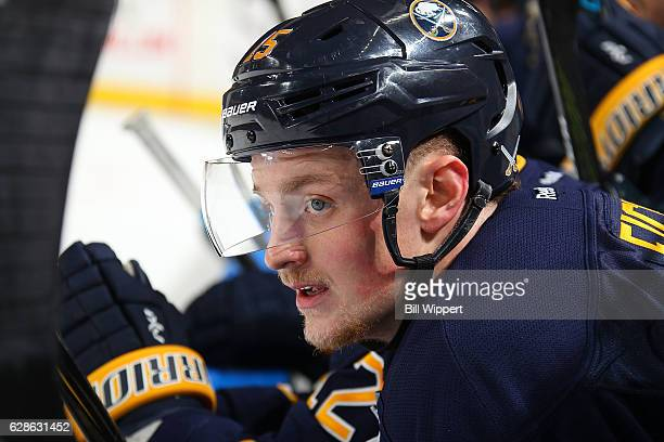Jack Eichel of the Buffalo Sabres watches the action against the Edmonton Oilers during an NHL game at the KeyBank Center on December 6 2016 in...