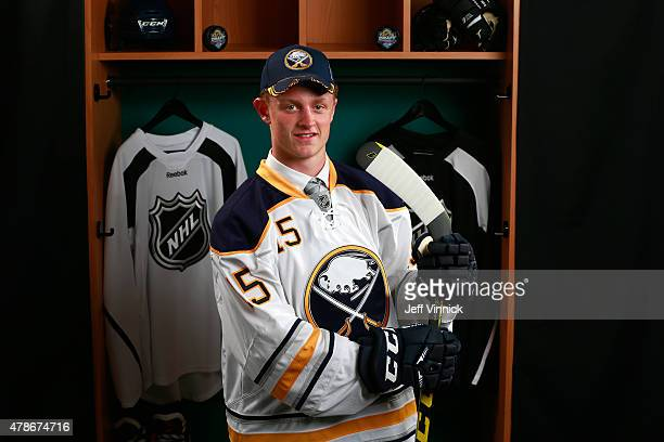 Jack Eichel poses for a portrait after being selected second overall by the Buffalo Sabres in the Round One of the 2015 NHL Draft at BBT Center on...